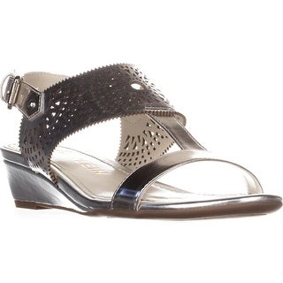 Anne Klein Maddie Low Wedge Sandals, Silver/Silver