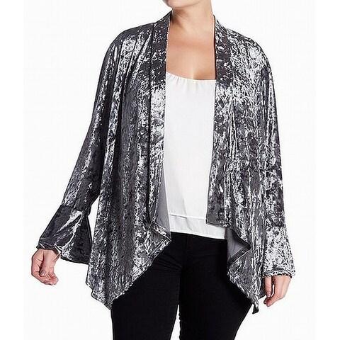 Good Luck Gem Silver Womens Size 3X Plus Velvet Cardigan Sweater