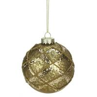"3.5"" Rich Elegance Mercury Glass Gold Glittered Diamond Christmas Ball Ornament"