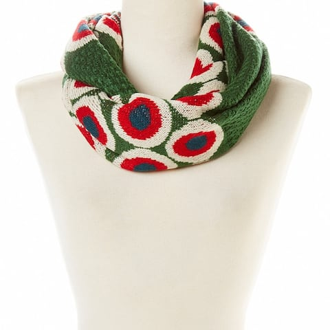 New Women Abstract Design Knit Infinity Scarf Circle Winter Fall Christmas Gift Women Snow Ivory Beige