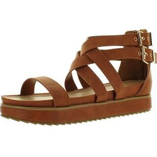 Nature Breeze Women Gorgeous-02 Leatherette Open Toe Strappy Flatform Flat Sandal - Tan