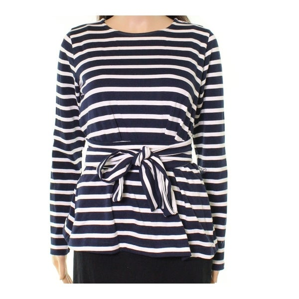 928f4ffc620c89 Shop J. Crew Navy Blue White Womens Size Small S Striped Belted Knit Top -  Free Shipping On Orders Over $45 - Overstock - 22472118