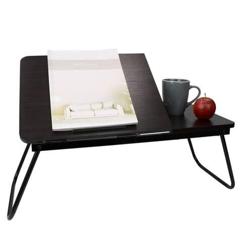 Large Adjustable Tilting Top Laptop Portable Bed Desk, Cherry Wood