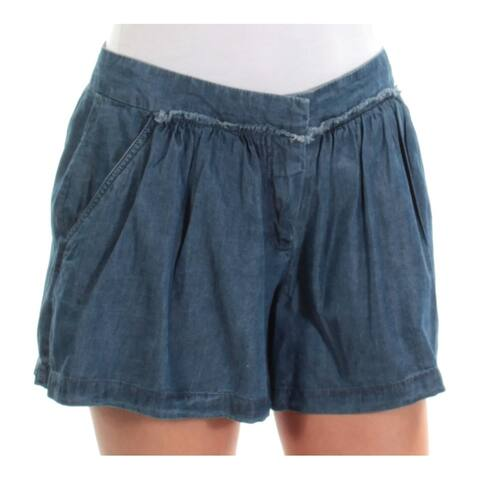 MAX STUDIO Womens Blue Pleated Flat Front Short Size: 2