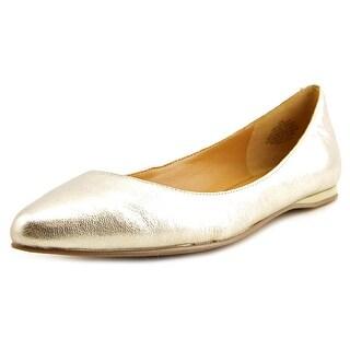 Nine West Speak Up Women Pointed Toe Leather Gold Flats