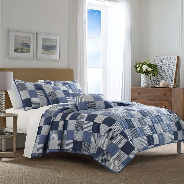 Nautica Holly Grove Blue Quilt Set. Opens flyout.
