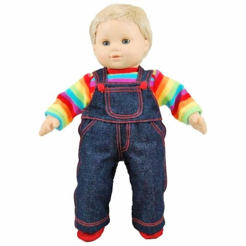 15 Inch Baby Doll Clothes, Twin 4pc Denim Overalls, Rainbow Shirt, Shoes Fits Bitty Baby