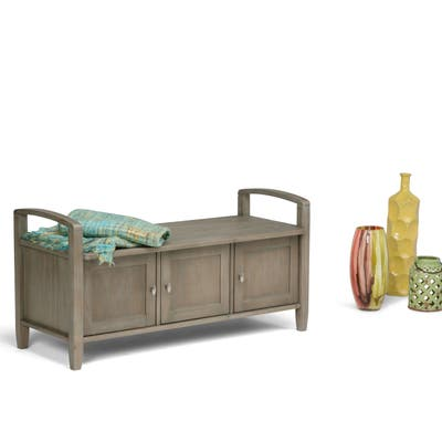 WYNDENHALL Norfolk SOLID WOOD 44 inch Wide Rustic Entryway Storage Bench - 44 Inches wide - 44 Inches wide