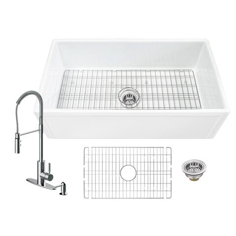 Soleil All-In-One White Fireclay Picture Frame/Plain Reversible Apron Front Single Bowl Kitchen Sink with Pull Down Faucet