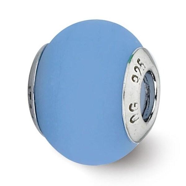 Italian Sterling Silver Reflections Blue Matte Glass Bead (4mm Diameter Hole)