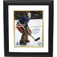 Eddie Giacomin signed New York Rangers 16X20 Color Photo Custom Framed HOF 87