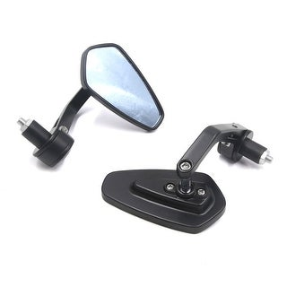 Pair Black Motorcycle 22mm Handlebar End Side Mount Rearview Blue Mirror