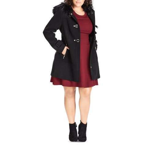 City Chic Womens Plus Pea Coat Faux-Fur Hooded - Black