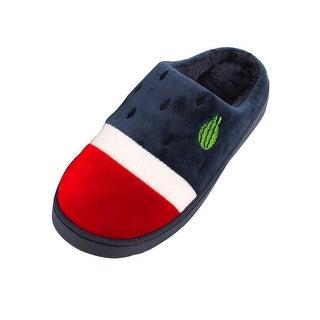 Coral Fleece Watermelon Pattern Warm Soft Winter Slippers Navy Blue Pair US 10.5