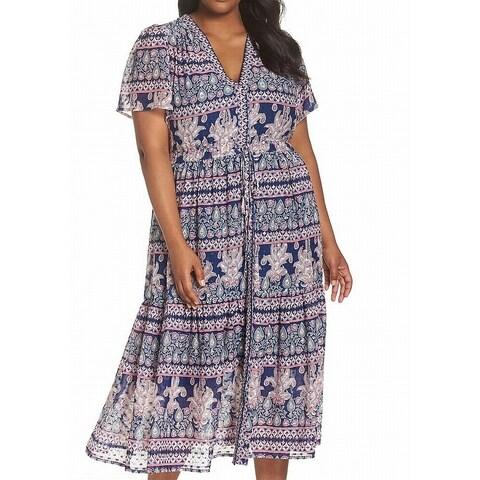 Eliza J Blue Women's Size 20W Plus Flutter Sleeve Maxi Dress