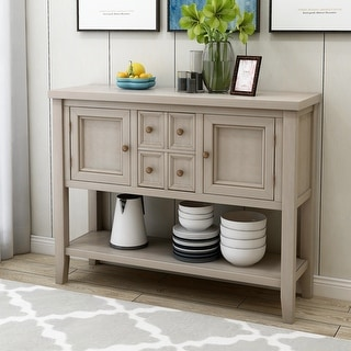 Espresso Storage Sideboard Console Table with Bottom Shelf
