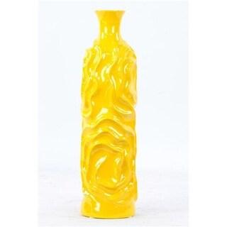 Ceramic Vase Yellow 20 in. H