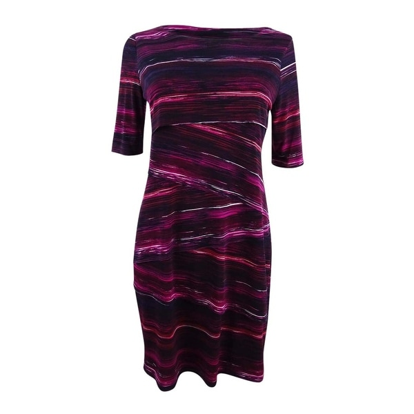Connected Women's Petite Printed Tiered Sheath Dress