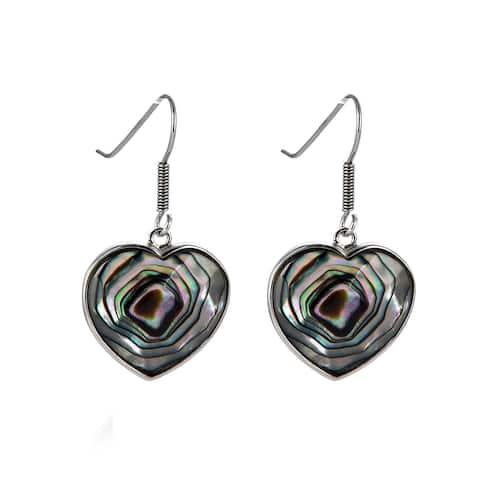 Sterling Silver with Abalone Shell Heart Shape Drop Earring