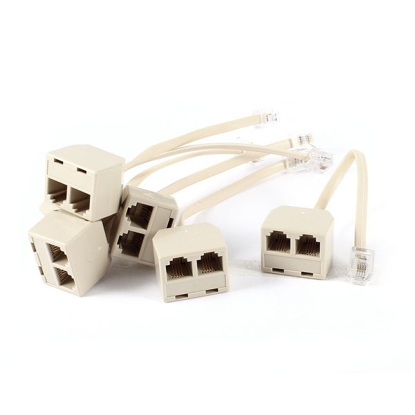 Unique Bargains 6 Pcs 6P4C RJ11 Male to Double Female M/F Splitter Telepone Connector Adapter