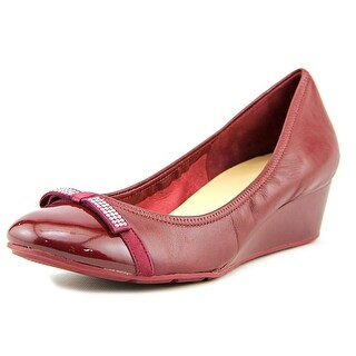 Cole Haan Tali Wedge.Jewel.Bow Women Open Toe Synthetic Burgundy Wedge Heel