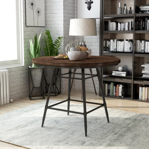 Furniture of America Larimere Industrial Gray Round Counter Table