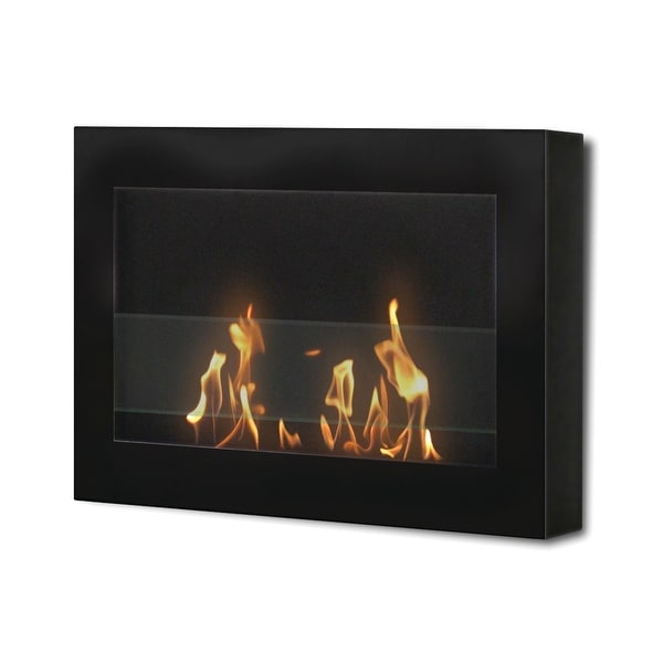 SoHo (Black) Wall Mount Bio Ethanol Ventless Fireplace