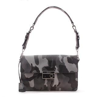 Prada Camo Pattern Saffiano Leather Shoulder Handbag - Green - L