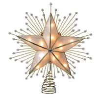 "8.75"" Lighted Capiz Star with Beaded Sunbursts Christmas Tree Topper- Clear Lights - Gold"