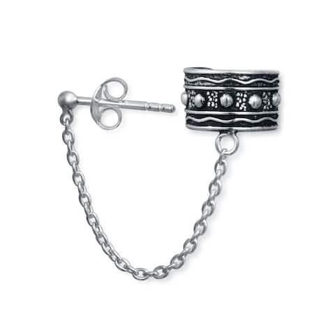 Bali Style Tribal Boho Ear Wrap Cartilage Ear Cuff Chain Pierced Ear Stud Earrings 1Pcs Oxidized 925 Sterling Silver