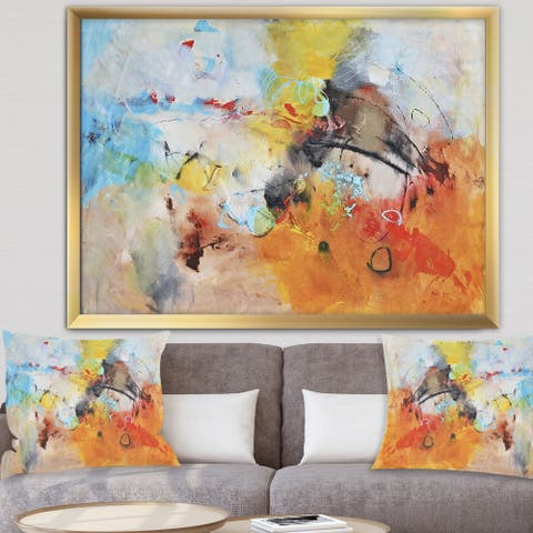 Designart 'Blue And Yellow Color Spatters II' Modern & Contemporary Framed Art Print