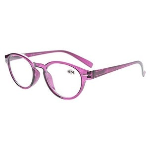 Eyekepper Retro Key Hole Oval Round Readers Spring-Hinges Reading Glasses Purple +3.5 - +3.50