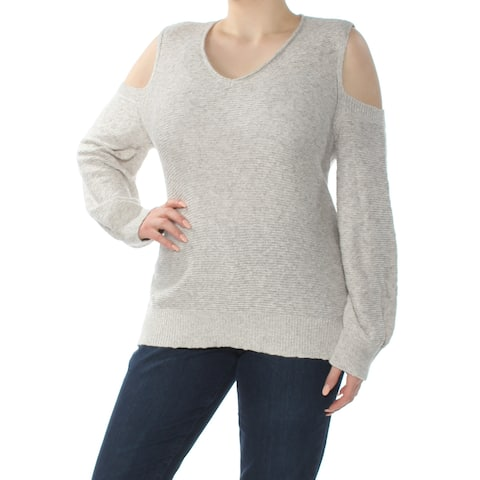 VINCE CAMUTO Womens Gray Cold Shoulder Long Sleeve V Neck Top Plus Size: XL