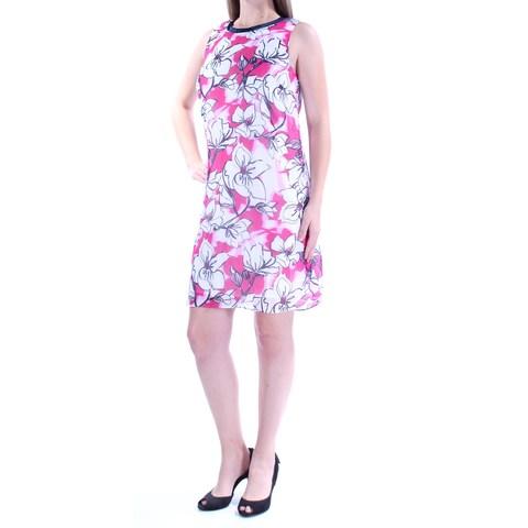 SLNY Womens Pink Floral Sleeveless Jewel Neck Mini Shift Dress Size: 8