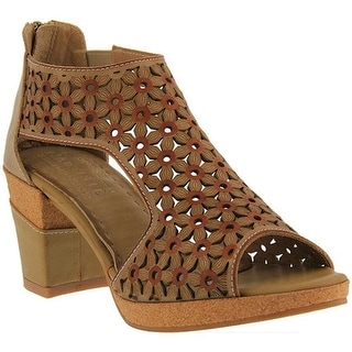 L'Artiste by Spring Step Women's Hibiskus Open Toe Bootie Taupe Leather
