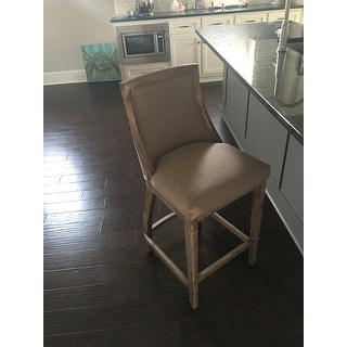 Park Avenue Beige Linen Counter Stool Free Shipping