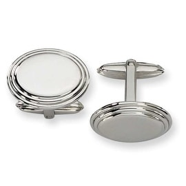 Chisel Polished Ovals Stainless Steel Cuff Links