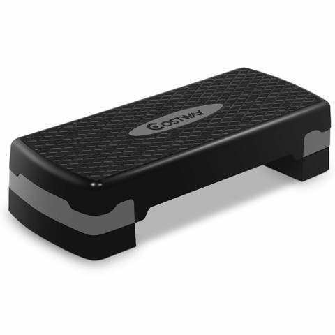 "Costway 27"" Fitness Aerobic Step Exercise Stepper Platform Adjust 4""-"