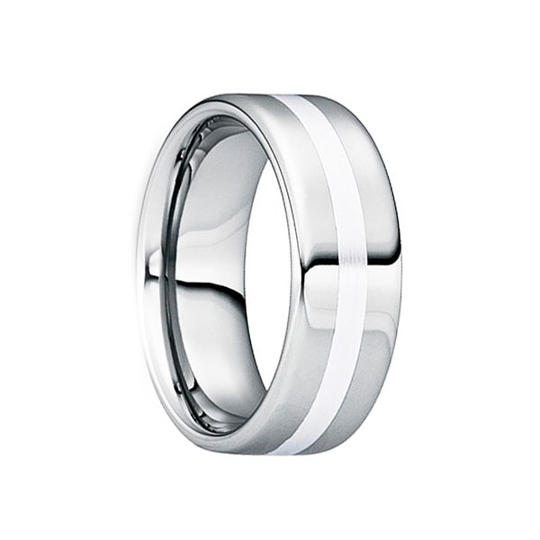 SEVERINUS Polished Tungsten Carbide Wedding Ring with Platinum Inlay Strip by Crown Ring - 6mm