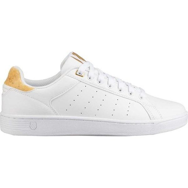 f993c205656 Shop K-Swiss Women's Clean Court CMF Sneaker White/Bright Gold - Free  Shipping Today - Overstock - 19437564