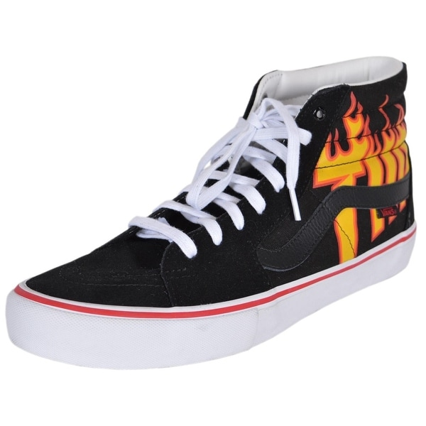 2638189bab Shop VANS Men s SK8-Hi Thrasher Black Flame High Tops Skate Shoes ...