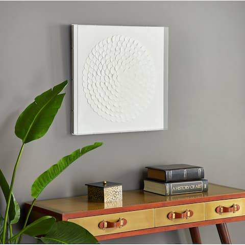 """Square Acrylic and White Leather Wall Decor, 24"""" x 24"""""""