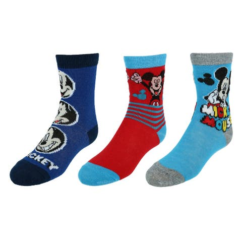 Disney Boy's Mickey Mouse Crew Socks (3 Pair Pack)