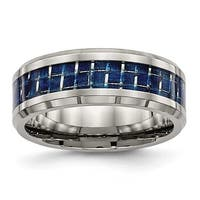 Titanium Polished with Blue Carbon Fiber Ring (8 mm)