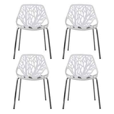 4Pcs Modern Lounge Chair, Living Room Office Seat Chair, White