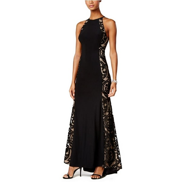 Shop XSCAPE Tattoo Illusion Halter Evening Gown Dress - 4 - Free ...