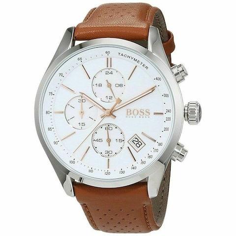 Hugo Boss Men's 1513475 'Grand Prix' Chronograph Brown Leather Watch - White