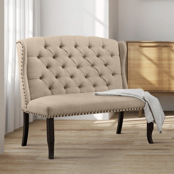 Furniture of America Tays Rustic Linen Fabric Loveseat Dining Bench. Opens flyout.