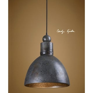"17"" Aged and Burnished Gray and Brown Single Hanging Light Pendant"