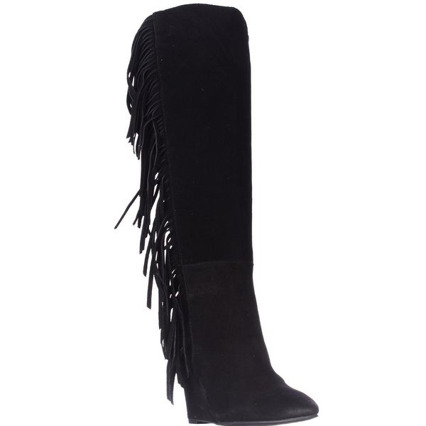 Denim & Supply Ralph Lauren Darcie Fringe Wedge Boots, Black Suede - 5 us / 36 eu